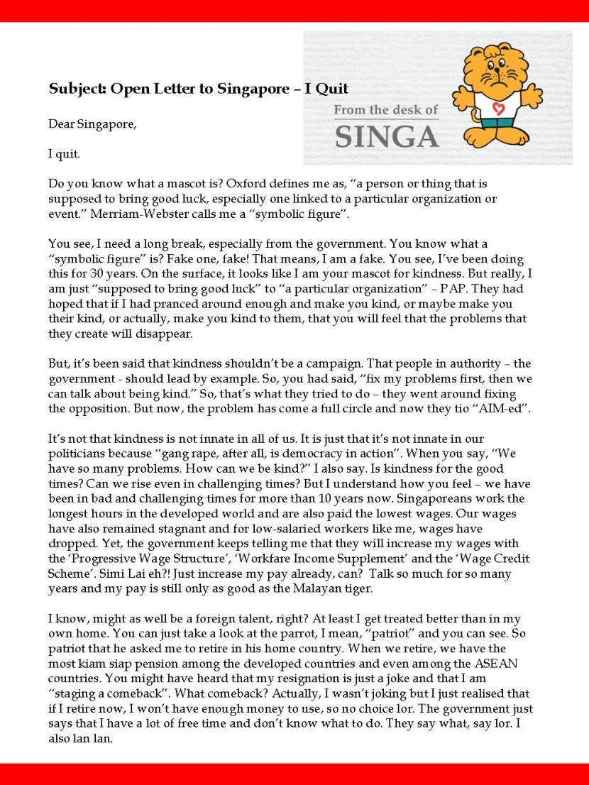 Singa Resigns 1