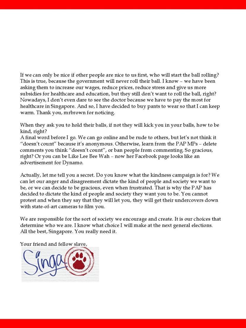 Singa Resigns 2