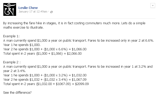 Leslie Chew Transport Fare Increase Facebook Posting
