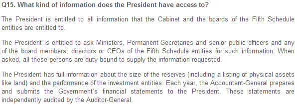 Ministry of Finance - Section II. What is the President's role in safeguarding the reserves