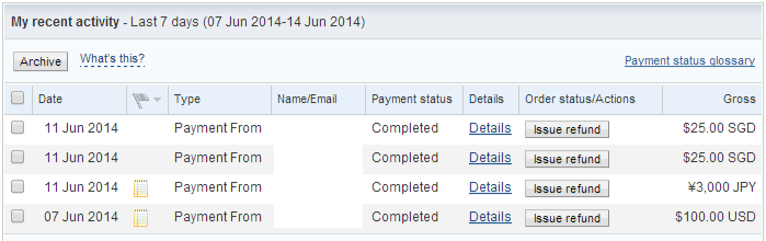 PayPal 7 to 14 June 2014
