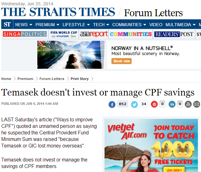 Temasek doesn't invest or manage CPF savings