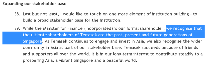 Temasek Holdings ultimate shareholders past, present and future generations of Singapore