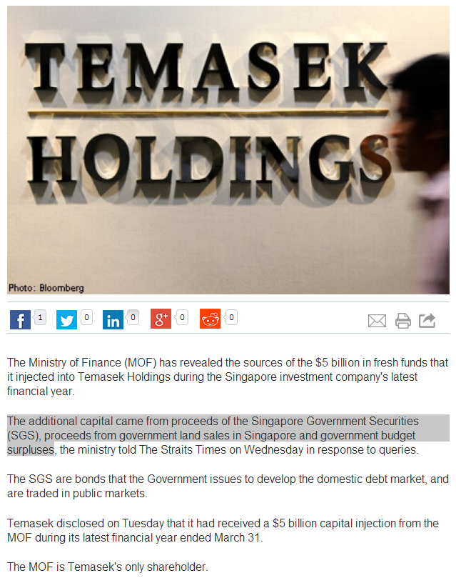 Additional Capital to Temasek from SGS