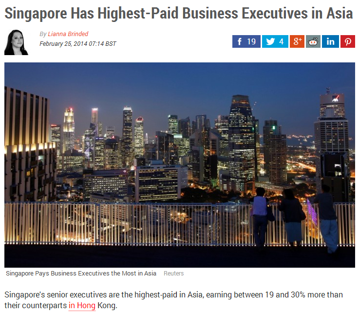 Singapore Has Highest-Paid Business Executives in Asia