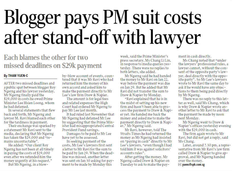 Blogger pays PM suit costs after stand-off with lawyer