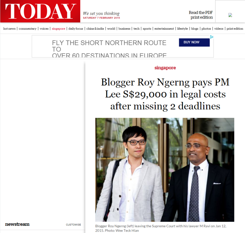 Blogger Roy Ngerng pays PM Lee S$29,000 in legal costs after missing 2 deadlines