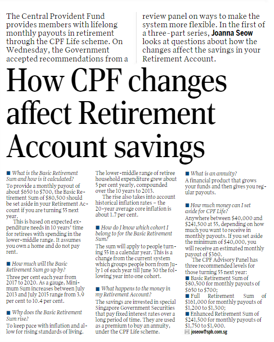 How CPF changes affect Retirement Account savings