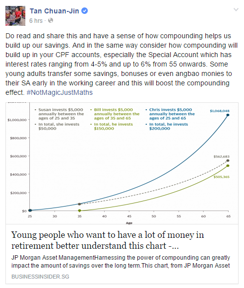 Tan Chuan-Jin Facebook Young people who want to have a lot of money in retirement better understand this chart