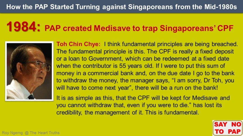 3 How the PAP Started Turning against Singaporeans from the Mid-1980s @ Medisave shortened