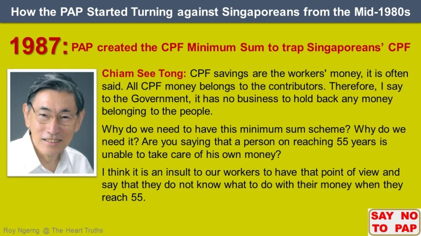 5 How the PAP Started Turning against Singaporeans from the Mid-1980s @ CPF Minimum Sum shortened