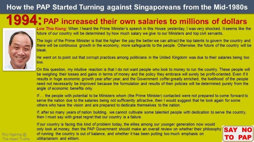 8 How the PAP Started Turning against Singaporeans from the Mid-1980s @ Ministerial Salaries