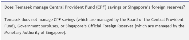Temasek does not manage CPF savings