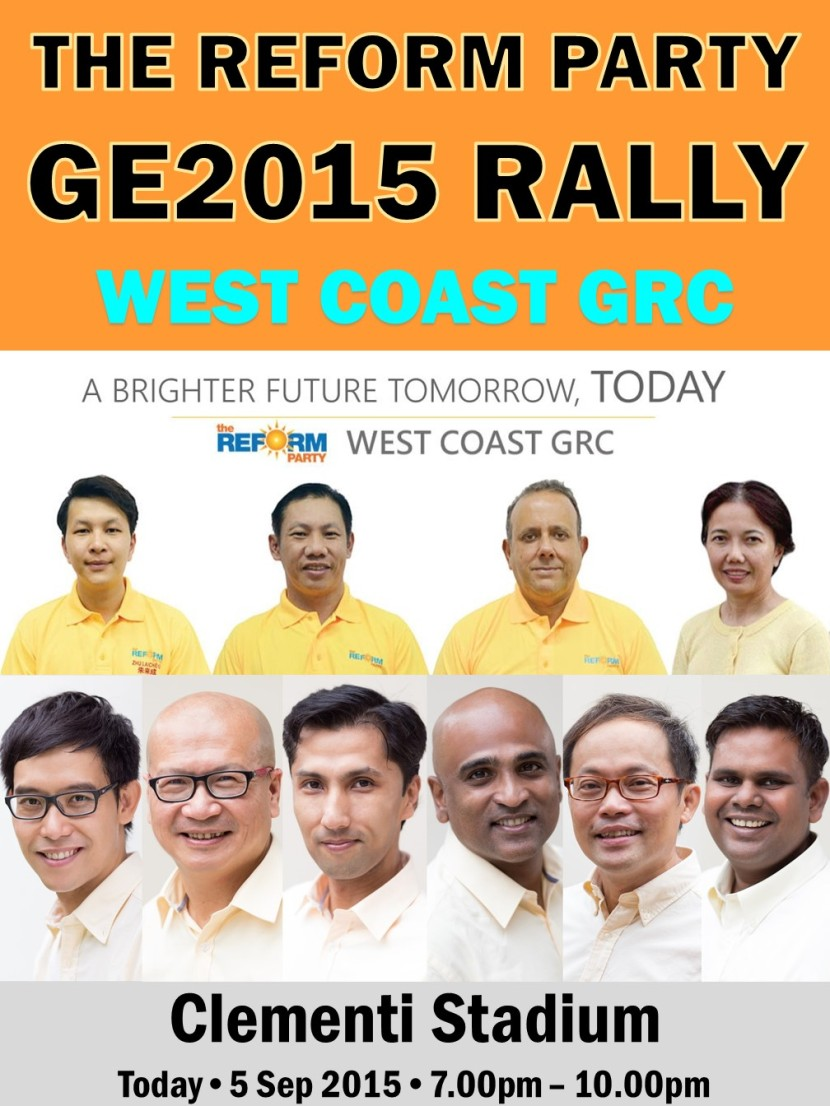 The Reform Party GE2015 Rally 5 September 2015
