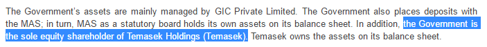 Government is the sole equity shareholder of Temasek Holdings